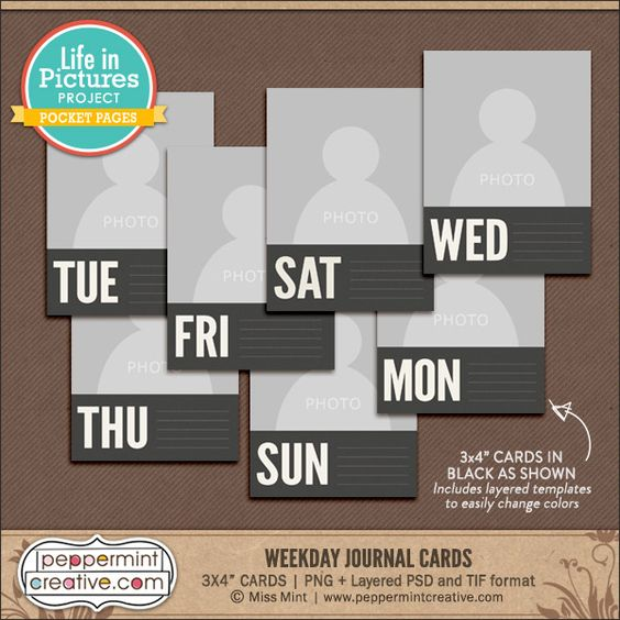 LIP: Weekday Journal Cards + Templates from Peppermint Creative #halloween #projectlife