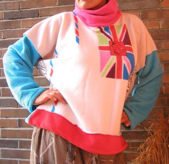 Langgröße LIEBES-BRIEF Fleece Pullover XL/XXL  von TALLhappyCOLOURS auf DaWanda.com