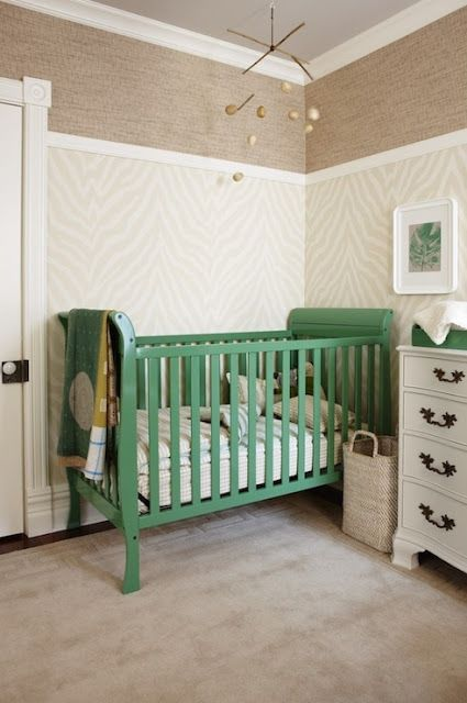 Green Crib, high chair rail, wallpaper - Love the color combo!!! Neutral with pops of color!