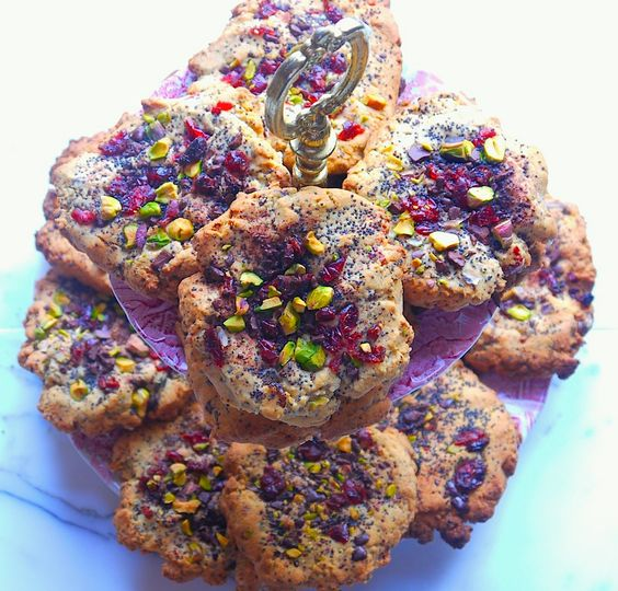 Pistachio, Cranberry and Chocolate Gluten Free Cookies
