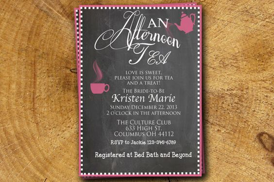 Teapot Bridal Tea shower invitation print digital by TheLudwigShop