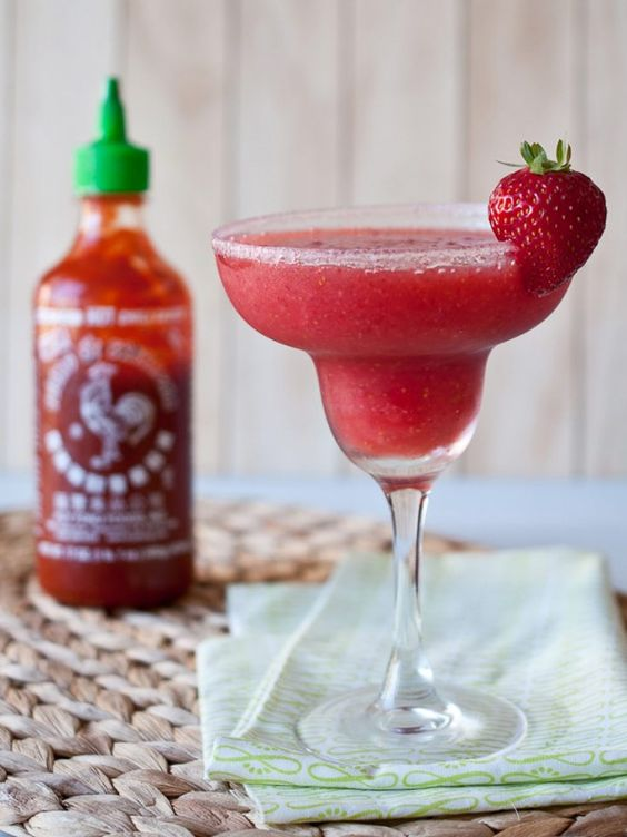 Put it on everything, even... margaritas?!  Strawberry Sriracha Margaritas