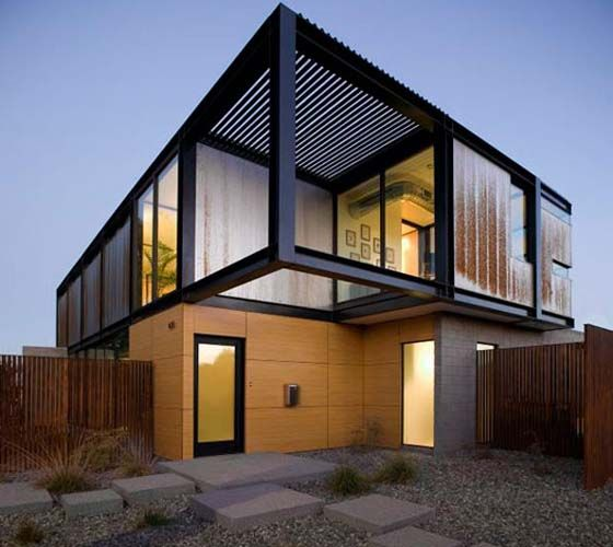 Modern steel frame exposed corrugated steel modern Steel frame homes