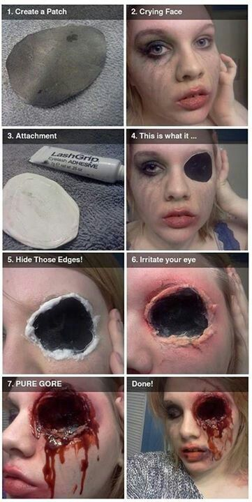 DIY Horror makeup - good for a gun shot to the face and it looks super easy!