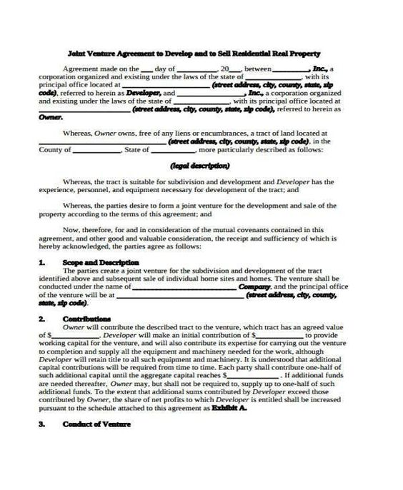 28 Joint Venture Real Estate Agreement Sample General Sample