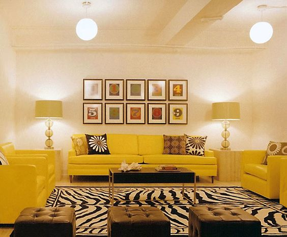 Color (Yellow!), Form (lamps, pendants), Pattern (rug-duh! Animal Print), Rhythm (wall art), Harmony (perfect) Elaine Griffin Interior Design