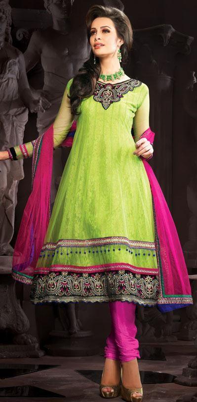 $95.24 Green Thread and Sequins Work Net Anarkali Salwar Suit 25084