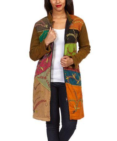 Another great find on #zulily! Olive & Orange Embroidered Patchwork Jacket - Women #zulilyfinds