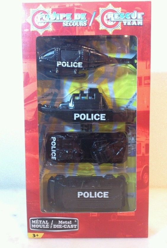 Rescue Team Metal Diecast Police Set. New in package 3+