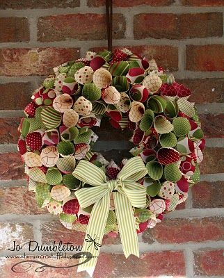 Christmas wreath  made with double-sided scrapbook paper