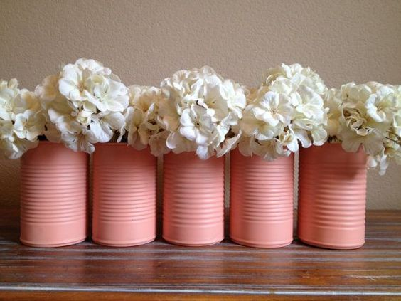 Shabby Chic Peach Pink Wedding Tin Vase Decor on Etsy, $5.00 - or spray pain your own in your wedding colours::