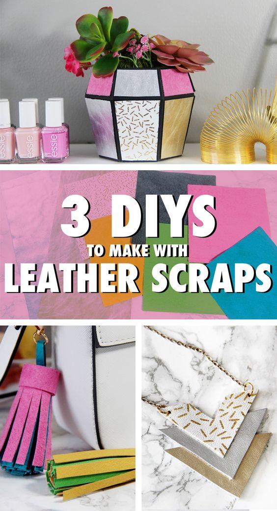 3 DIYs to Make Using Leather Scraps - Planter, Tassel, & Necklace | Karen Kavett
