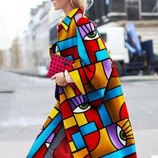 Fashion Geometric Color Printed Coat – Superory | Print coat