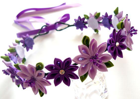 Bridal Flower Wreath For Hair : Purple kanzashi fabric flower wreath bridal hair