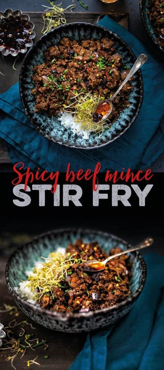 This Spicy Beef Stir Fry With Eggplant And Mushrooms Is Ready In 20 Minutes Serve With Rice Noodles Or Zoo Minced Beef Recipes Spicy Beef Stir Fry Spicy Beef