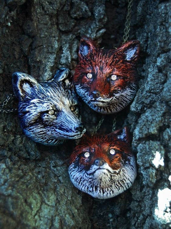 Woodland Fantasy Whimsical Red Fox Head Necklace