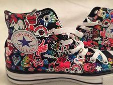 Womens Converse Hi Top Sticker Graffiti Print Shoes * Black Multi * New * Sz 8