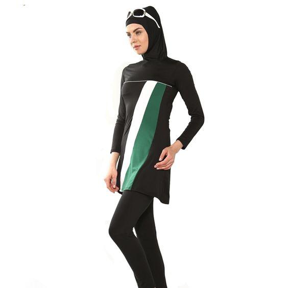 Muslim Womens Swimsuit Modest Islamic Swimwear Costume Full Cover Beachwear Set - Stripe style - 3 parts: hijab + top + pants