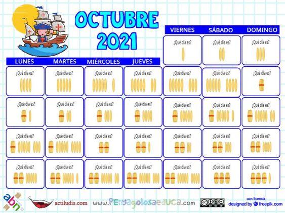 Calendario palillos infantil ABN – Octubre 2021