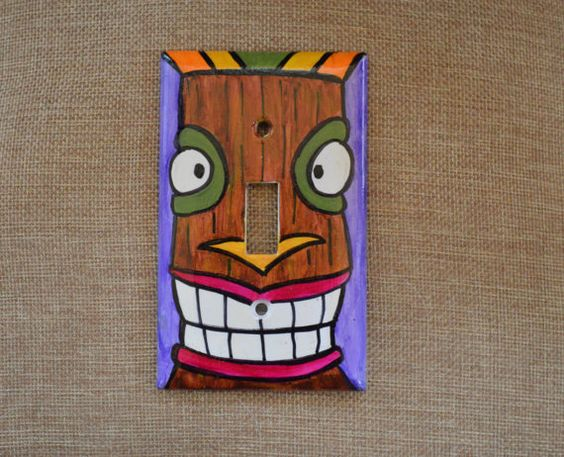 Hand painted Tiki Totem switchplate by BigMamaBsArtandStuff