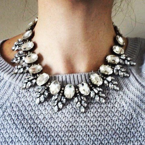 Clear Rhinestone Statement Necklace, Vintage Inspired Bib Collar. FREE SHIPPING