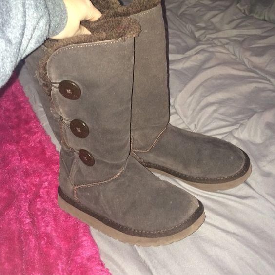 Dark brown bailey button UGGS Only flaw is they are missing one button UGG Shoes Winter & Rain Boots