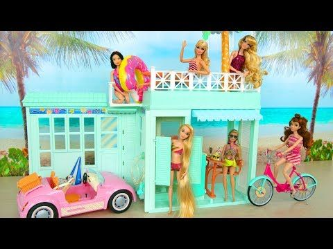 Beach Bungalow House For Barbie Beach Cruiser Puppenhaus Casa Praia باربي البيت Rumah Boneka Poupee Youtube Barbie Dream House Beach Bungalows Barbie House