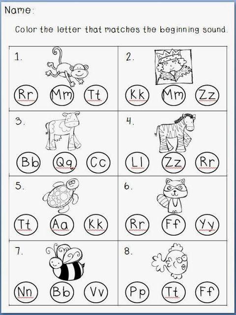 Beginning Sound Independent Pages FREEBIE- Kindergarten At Heart