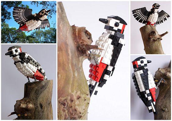 Lego birds: Woodpecker made from Lego by Thomas Poulsom