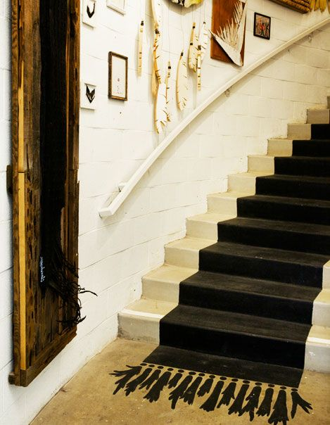 Painted Stairway: Painted Carpet, Painted Rugs, Painted Staircases, House Idea, Painted Stairs, Painted Tassel, Painted Floors