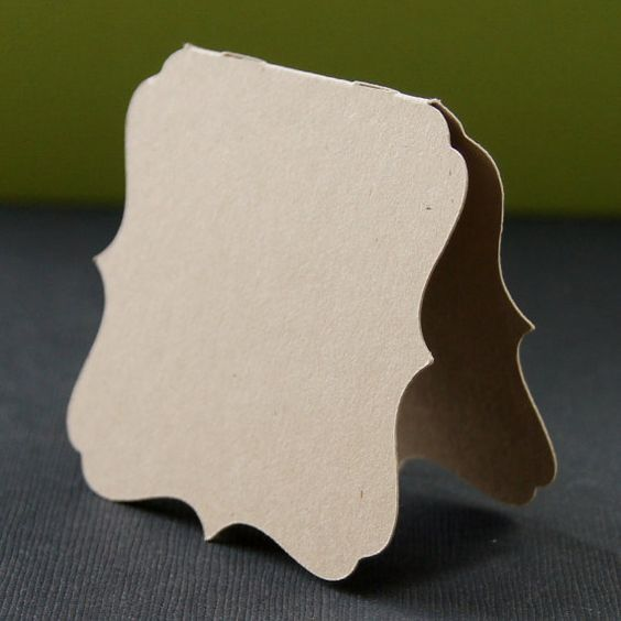 6 Mini Bracket Cards . Folded Square Cards in KRAFT by scrapbits