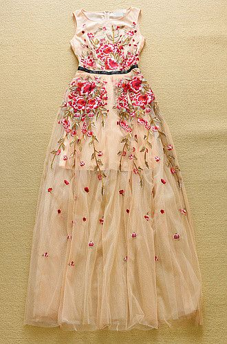 Luxury High Quality 2015 Designer Runway Maxi Dress Women Sleeveless Pink Flowers Embroidery Formal Party Gown Long Dress