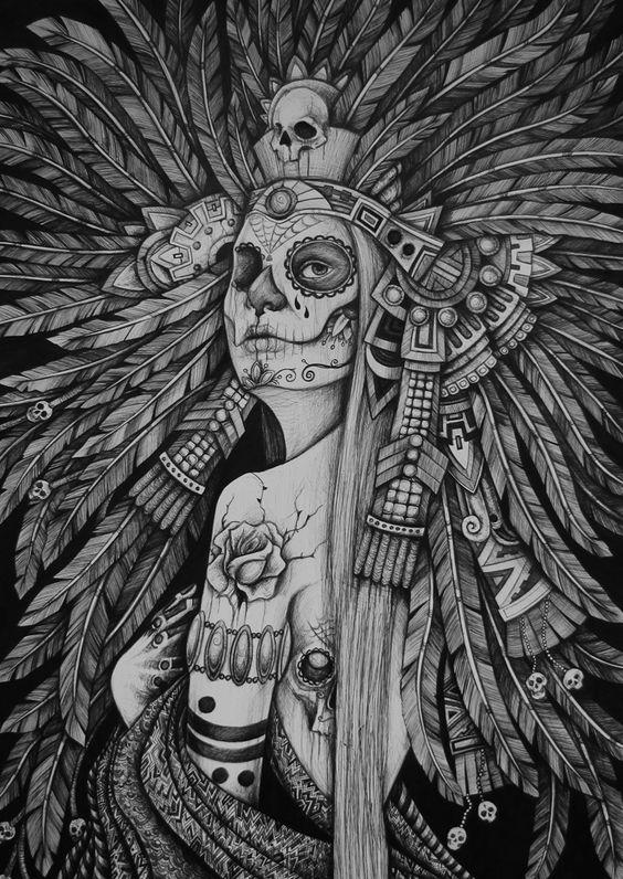 sugar skull tattoo Indian chief