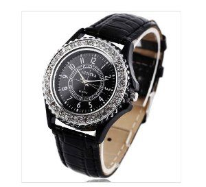 Geneva Ladies Watch with Rhinestone and CrocEmbossed Leather Band