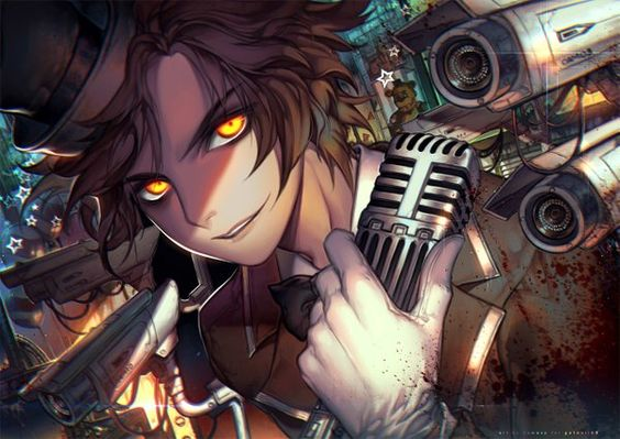 Image d'anime 1280x908 avec  five nights at freddy's freddy fazbear kawacy single short hair looking at viewer brown hair smile yellow eyes parted lips close mechanical blood stains male gloves animal star (stars) white gloves bowtie microphone