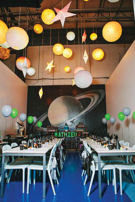 Birds birthdays and birthday party decorations on pinterest for Decorations for outer space party