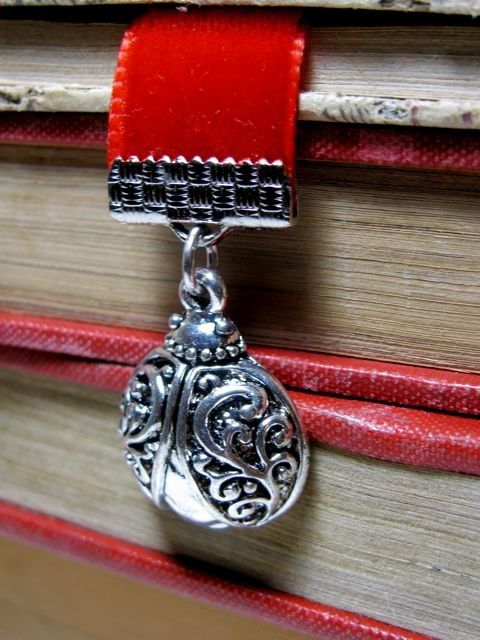 Red Velvet Bookmark With Ladybug & Heart Charms