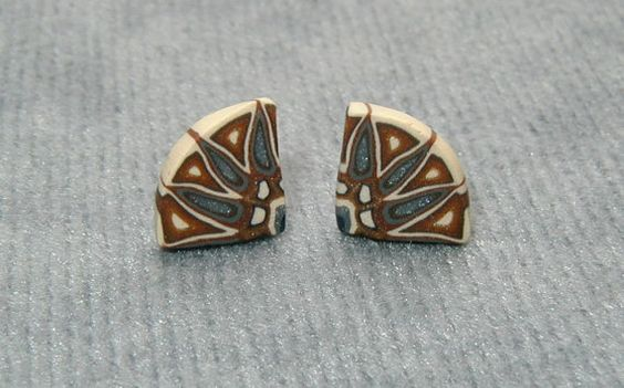 Quarter Star Post Earrings in Warm Brown and Cool by PatchWorkClay, $14.00