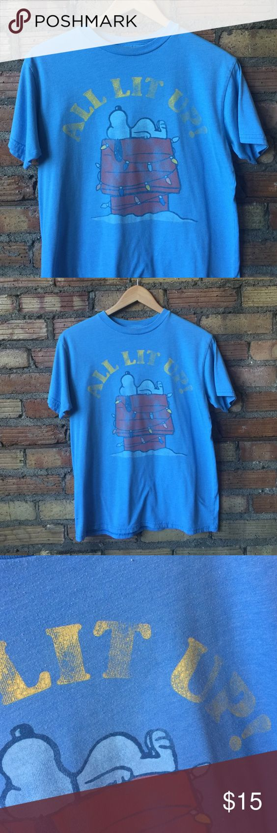 VTG 90's Snoopy peanuts Holiday tee ALL LIT UP! In vintage condition. Will fit a small- medium Vintage Tops