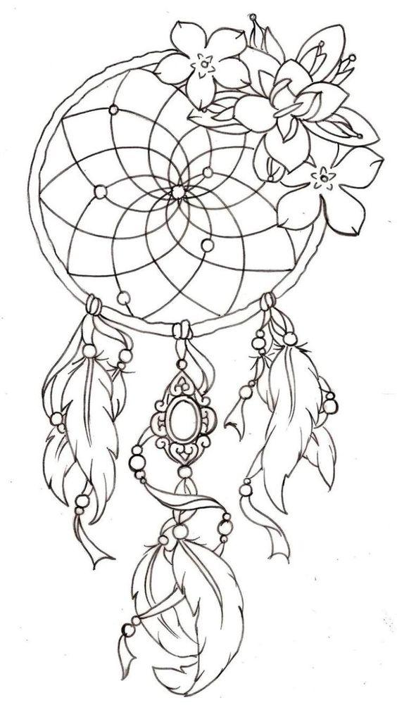 Traumfänger Tattoo Vorlage mit Federn und Blumen