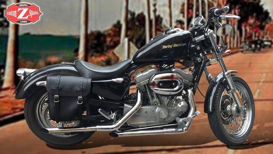 Alforja Derecha CENTURION con el hueco de amortiguador para Sportster. Sportster saddlebag hollow cushion. www.customspain.com