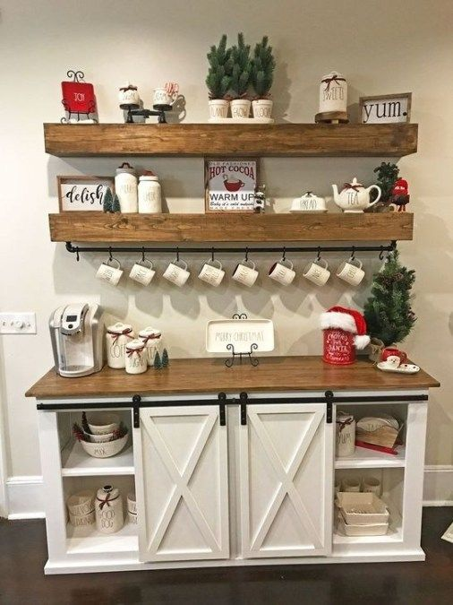 Incredible Farmhouse Christmas Decor And Design Ideas On A Budget27 Coffee Bar Home Easy Home Decor Kitchen Decor