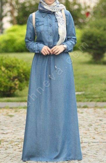 Bagcikli Kot Elbise Acik Mavi Tesettur Kot Elbise Elbise Suhneva Kot Elbiseler Islami Giyim Elbise