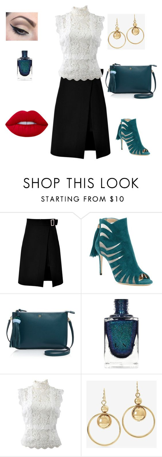 """""""Teal"""" by unpocoboho on Polyvore featuring storets, Paul Andrew, Tory Burch, Mehron, Oscar de la Renta, White House Black Market and Lime Crime"""