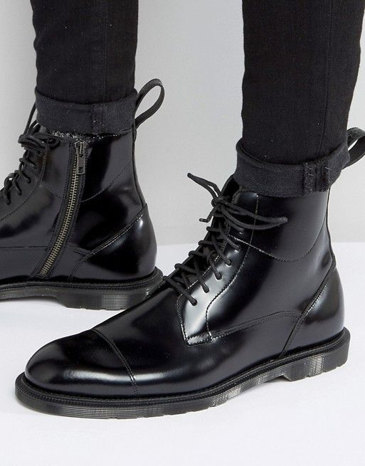 Dr Martens Winchester 8 eye boots in black polished smooth