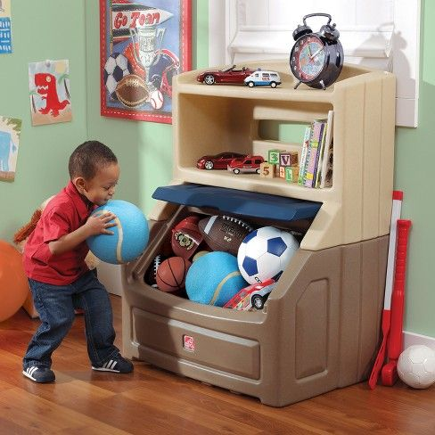 Step2 Lift And Hide Bookcase Storage Chest Blue Kids Storage Bins Kids Play Room Organization Toy Storage Boxes