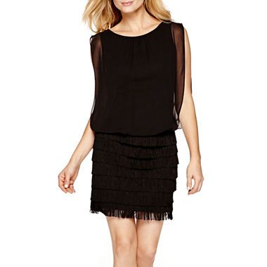 $44.99 jcpenney.com | Scarlett Sleeveless Fringed Blouson Dress