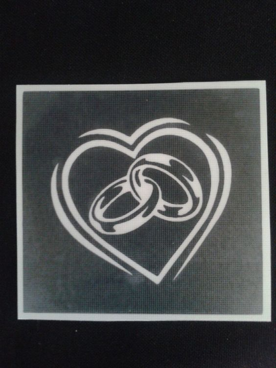 Wedding ring stencils for etching on glass Marriage present