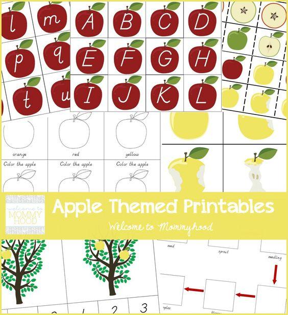 apple livre temático pacote de impressão para crianças e pré por Welcome to Mommyhood #montessoriinspired, #montessori, #preschool, #fallactivitiesforkids