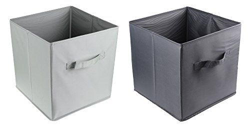 ONEVER Foldable Fabric Closet Organizers Basket Clothes Open Storage Bin,Set  Of 2
